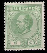 Suriname - 3 ct groen Willem III (nr. 4, ongebruikt)