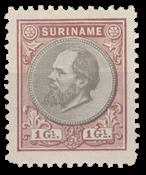 Suriname - 1 gld bruin en grijs Willem III (nr. 14, ongebruikt)