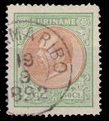 Suriname - 2 1/2 gld groen en oranjebruin Koning Willem III (nr. 15, gebrui