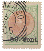 Suriname - 50 ct op 2 1/2 gld groen/oranjebruin (nr. 40, gebruikt)
