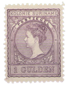 Suriname - 1 gld lila (nr. 56, ongebruikt)
