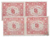 Suriname - Hulpuitgifte 1909 in keerdrukcombinatie  (nr. 58a+59a, ongebruikt