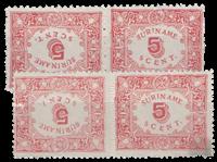 Suriname - Hulpuitgifte 1909 in keerdrukcombinatie  (nr. 58a+59a, ongebruikt)