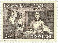 150ème anniversaire de la Bibliothèque du Groenland -2,00 kr- Brun