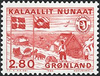 Indépendance de l´Administartion postale du Groenland - 2,80 kr. - Rouge