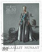 Groenland - Reine du Danemark 40 ans de règne - Timbre oblitéré