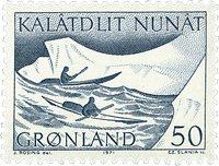 Groenland - 1971. Kayak - 50 øre - Vert-bleu