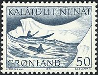 Grønland - 1971. Kajakker - 50 - Blågrøn