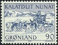 Greenland - 1972. Mail Dog Sledge - 90 øre - Blue