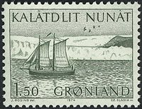 Groenland - 1974. Chaloupe - 1,50 kr. - Vert-olive