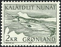 Grønland - 1975. Narhval - 2 kr. - Grøn