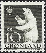 Groenland - 1963-1964. Ours polaire - 10 kr. - Olive foncé