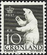 Grønland - 1963-64. Polarbjørn - 10 kr. - Grønsort