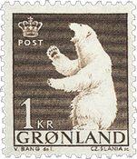 Grønland - 1963-64. Polarbjørn - 1 kr. - Brun