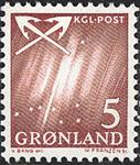 Grønland - 1963-1964. Nordlys - 5 øre - Vinrød