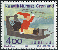 Grønland - Julefrimærke 1993 - 4,00 kr - Flerfarvet