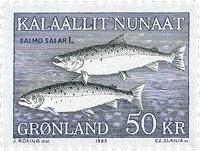 Groenland - 1983. Saumon - 50 kr. - Bleu et gris