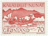 Grønland - 1972. Konebåd - 70 øre - Rød