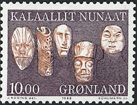 Groenland - 1988. Ustensiles et art local - 10,00 kr. - Lilas et brun clair