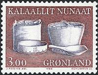 Groenland - 1988. Ustensiles et art local - 3,00 kr. - Brun-rouge et mauve