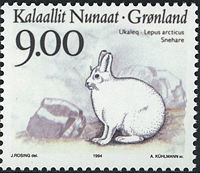 Grønland - 1994. Landdyr i Grønland - 9,00 kr. - Flerfarvet