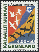 Grønland - 1991. Blå Kors - 4,00+0,50 kr. - Flerfarvet