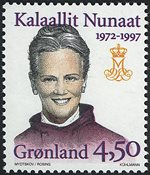 Grønland - Dronning Margrethe II 25 års regeringsjubilæum - 4,50 kr.