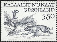 Groenland - 2000. Les Vinkings Arctiques II - 5,50  kr - Noir et vert-gris