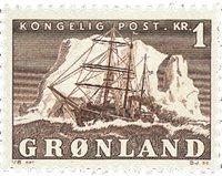 Grønland - Ishavsskibet 'Gustav Holm' - 1 kr. - Brun