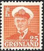 Groenland - Roi Frédéric IX - 25 øre - Rouge