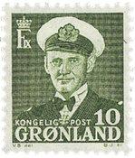Groenland - Roi Frédéric IX - 10 øre - Vert-jaune