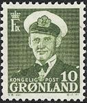 Grønland - Kong Frederik IX - 10 øre - Grøn