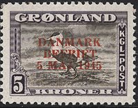Groenland- Même émision que ci-dessus-5 kr- Violet  et brun- Surcharge rouge