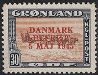 Grønland - Danmark Befriet - 30 øre - Rødt overtryk - Ubrugt