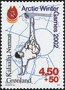 Grønland - 2001. Artic Winter Games 2002 - 4,50+0,50 kr. - Flerfarvet
