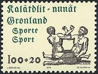 Grønland - 1976. Idrætsfrimærke - 100 + 20 øre - Grøn / Brungrå