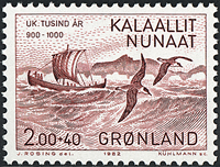 Groenland - 1982. L´arrivée d´Eric le Rouge - 2,00  + 0,40 kr. - Violet-brun