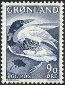 Groenland - 1967. Le grand plongeon du Nord et le corbeau - 90 øre - Bleu