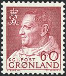 Grønland - Kong Frederik IX i anorak - 60 øre - Rød lilla