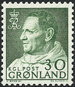 Greenland - King Frederik IX Dressed in Anorak - 30 øre - Green