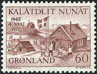 Groenland - 1970. Libération du Danemark - 60 øre - Brun-rouge