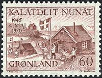 Grønland - 1970. 25-året for Danmarks befrielse - 60 øre - Brunrød