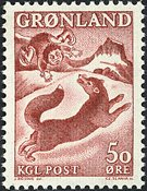 Groenland - 1966. L´enfant et le renard - 50 øre -  Rouge-brun