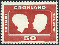 Greenland - The Wedding of Princess Margrethe and Count Henri - 50 øre- Red