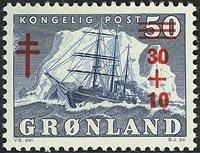 Groenland - Le *Gustav Holm* - 30+10/50 øre - Bleu  - Surcharge rouge