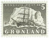 Grønland - Ishavsskibet 'Gustav Holm' - 5 kr. - Grå