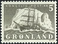 Grønland - Ishavsskibet *Gustav Holm* - 5 kr. - Grå