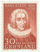 Grønland - 1958. 'Hans Egedes' - 30 øre - Brunrød