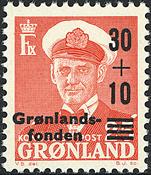 Grønland - Kong Frederik IX - 30+10/25 øre - Rød /  Sort overtryk