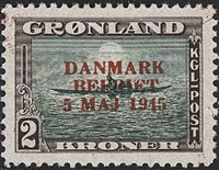 Grønland - 1945. Danmark Befriet - 2 Kr. - R'dt overtryk - Postfrisk